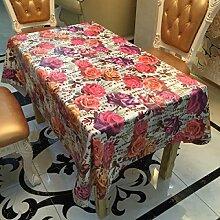 2ST Tang Moine Garten Rosen Farbe Romantik Liebe Tischdecken Tischdecken Klasse Tischdecken,137cm*200cm