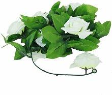 2x Künstliche Rose Kranz Blume Hochzeit Zuhause Garten Dekor (Hellgrün)