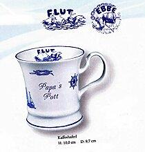 6 Stück- Porzellan- Kaffeehaferl, Tasse, Kaffeepott- Papa`s Pott ODER Mama, Oma, Opa
