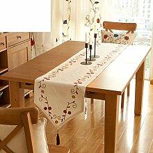 American Stickerei Länderflaggen,Garten-flagge,Moderne Und Einfache Baumwolle Und Leinen Tischdecke,Couchtisch Beistelltisch Läufer Bett Schal-A 40x160cm(16x63inch)