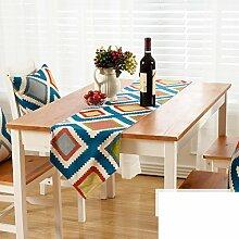 Amerikanische Gestreifte Gedruckten Tischläufer/Europäische Garten Wind Tabelle Tischläufer/TV Schrank Tisch Tischläufer-E 30x160cm(12x63inch)