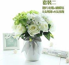 Beata.T Künstliche Blumen Anzug Weißer Boden Blumengarten Garten Wohnzimmer Haus Transparent Simulation Dekoration, B