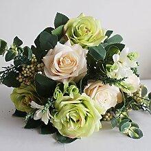 Beata.T Künstliche Blumen Europäische Art Garten Blume Blume Rose Blumenstrauß Dekoration Blume Vase Blume Blume Blume Wohnzimmer Schlafzimmer Einrichtung, C