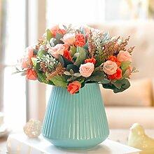 Beata.T Künstliche Blumen Garten Gartenmöbel Keramik Vase Setzt Hause Wohnzimmer Seide Stoff Dekoration, C