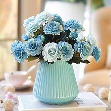 Beata.T Künstliche Blumen Garten Gartenmöbel Keramik Vase Setzt Hause Wohnzimmer Seide Stoff Dekoration, B