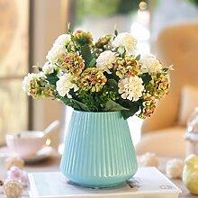 Beata.T Künstliche Blumen Garten Gartenmöbel Keramik Vasen Set Home Wohnzimmer Seide Stoff Dekoration, A