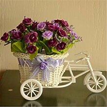 Beata.T Künstliche Blumen Garten Set Heim Dekoration Blume Drei Runde Fahrrad Blume Korb Wohnzimmer Dekoration, A