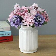 Beata.T Künstliche Blumen Set Einfache Esstisch Blumen Interieur Blumen Europäischen Stil Garten Vergossen Wohnzimmer Gefälschte Ornamente, Q