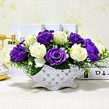 Beata.T Künstliche Blumen Set Pastoral Floral Super Simulierte Seide Blumen Konferenz Tisch Garten Blume Tisch Essen, D