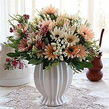 Beata.T Künstliche Blumen Set Rose Blume Seide Garten Hause Wohnzimmer Tischdekoration Blume Tisch Display Blumen, R