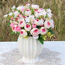 Beata.T Künstliche Blumen Set Rose Blume Seide Garten Hause Wohnzimmer Tischdekoration Blume Tisch Display Blumen, A