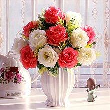 Beata.T Künstliche Blumen Set Rose Blume Seide Garten Hause Wohnzimmer Tisch Dekoriert Blume Tisch Blumen, N