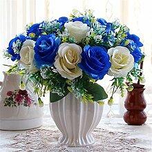 Beata.T Künstliche Blumen Set Rose Blume Seide Garten Hause Wohnzimmer Tischdekoration Blume Tisch Anzeige Blumen, E
