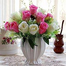 Beata.T Künstliche Blumen Set Rose Blume Seide Garten Hause Wohnzimmer Tisch Dekoriert Blume Tisch Display Blumen, T