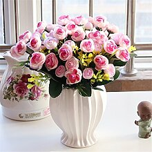 Beata.T Künstliche Blumen Set Rose Blume Seide Garten Hause Wohnzimmer Tisch Dekoriert Blume Tisch Display Blumen, P