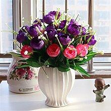 Beata.T Künstliche Blumen Set Rose Blume Seide Garten Hause Wohnzimmer Tischdekoration Blume Tisch Display Blumen, D