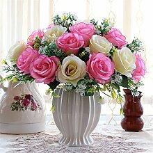 Beata.T Künstliche Blumen Set Rose Blume Seide Garten Hause Wohnzimmer Tischdekoration Blume Tisch Display Blumen, Ar