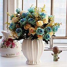 Beata.T Künstliche Blumen Set Rose Blume Silk Garten Hause Wohnzimmer Tischdekoration Blume Tisch Display Blumen, Sy