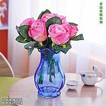 Beata.T Künstliche Blumen Set Tabelle Glas Blumenvase Garten Artverzierungen Wohnzimmer Wohnraumausstattung, Ein