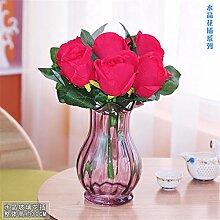 Beata.T Künstliche Blumen Set Tabelle Glas Blumenvase Garten Artverzierungen Wohnzimmer Wohnraumausstattung, F