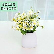 Beata.T Künstliche Blumen Set Weiße Keramische Vase Garten Pastorale Ornamente Wohnzimmer Wohnkulturen Falsche Blumen Simulation, L