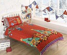 """Bettwäsche-Set, Rudolph mit der roten Nase, Rot, Weihnachten, mit Aufdruck """"Merry Christmas"""", Einzelbett"""