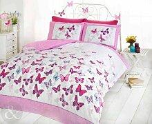 Bettwäsche-Set, Wendbar, Für Mädchen, Schmetterling, Gepunktet, Baumwolle, Bettbezug, Tropen-Design, Baumwollmischung, Pink ( white purple teal ), Kingsize Bettbezug