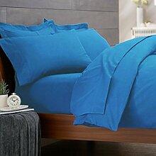 Biber-Bettwäsche mit Bettbezug & Kissenbezug, aus 100% Baumwolle, hochqualitativer, superweicher Stoff, blau, Doppelbett