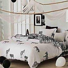 Black und White Star drucken Mikrofaser reversibel 4 Stücke Queen Größe Bettdecke decken stellen mit versteckt Taste (Königin, weißen und schwarzen Streifen Sterne) , zebra