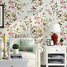 Blumen Und Vögel Tapete Schlafzimmer Schlafzimmer Wohnzimmer Wand Retro-Tapete Gelb Vlies,Beige