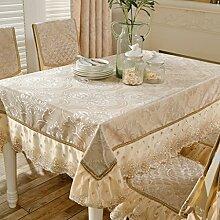 BMKY Tischdecken European Style Wohnzimmer Spitze Quadrat Essentisch Tuch Tisch Tuch Set Tuch Set Haushalt Baumwollsamen Couchtisch Tapete Rechteck ( Farbe : B , größe : 130*180cm )