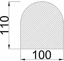 Bodenplatte Stahl grau Halbrund 1100x1000x2 mm Kaminofen/Holzofen Hitzebeständig einbrennlackiert Senotherm
