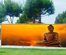 Brise Vue bedruckt, Garten, Terrasse, Balkon Deko Buddha, 100%, 300x117cm