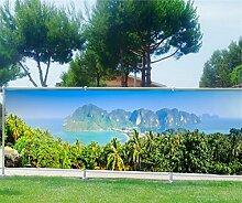 Brise Vue bedruckt, Garten, Terrasse, Balkon Schulen Tropen, 100%, 340x132cm