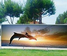 Brise Vue, Garten, Terrasse, Balkon Deko Delfine, 100%, 340x132cm