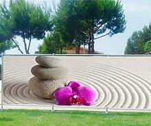 Brise Vue, Garten, Terrasse, Balkon Deko Kiesel Blumen,, 100%, 340x132cm