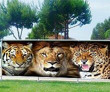 Brise Vue, Garten, Terrasse, Balkon Deko Wildtiere, 100%, 340x132cm