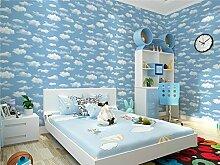 Cunguang Blue Sky Cloud Kinderzimmer Tapete Tapete für Wand Non-Woven Infantil Papier für Kinder Dunkelblau 5,3 qm.