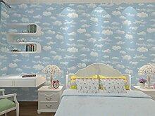 Cunguang Blue Sky Cloud Kinderzimmer Tapete Tapete für Wand Non-Woven Infantil Papier für Kinder Hellblau 5,3 qm.