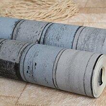 Cunguang Mediterrane Holz- blaue senkrechte Streifen Tapete für Wände 3d Wall Paper Roll, 151805,5.3 m²