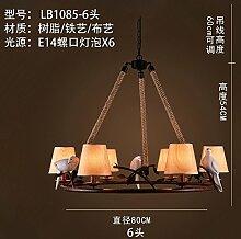DALIU - Kronleuchter, im mediterranen Stil eingerichteten Wohnzimmer Schlafzimmer Küche Cafe garten Anhänger Seil, 111 V ~ 240 V, 6 Lampenschirme