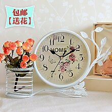 Damjic Europäische Bügeleisen Wecker Stumm Tischuhr Dekoration Wohnzimmer Schlafzimmer Garten Uhr Uhr