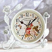 Damjic Europäische Bügeleisen Wecker Stumm Tischuhr Dekoration Wohnzimmer Schlafzimmer Garten Uhr A