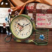 Damjic Im Europäischen Stil Schlafzimmer Wohnzimmer Clock Mute Desktop Wecker Bügeleisen Garten Schmuck S