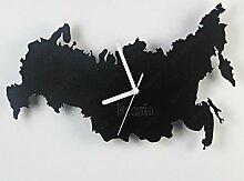 Damjic Karte Art Fashion Clock Einfache Europäische Garten Zimmer Wanduhr Holz Wanduhr Holz Wanduhr Schwarz Russland