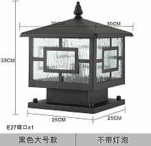 Damjic Stigma Lampe Square Outdoor Wasserdicht Zaunpfosten Lampe Retro Regen Outdoor Tür Rasen Lampe Garten Lampe 33 * 30 Cm Schwarz (Ohne Leuchtmittel)