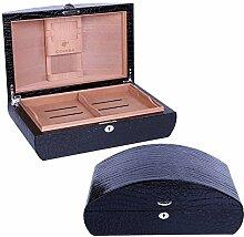 Deluxe Cohiba Humidor 100Ct Zigarren Aufbewahrungsbox mit ARC Form Design BLACK PU WRAPPED
