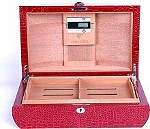 Deluxe Cohiba Humidor 100Ct Zigarren Aufbewahrungsbox mit ARC Form Design RED PU WRAPPED