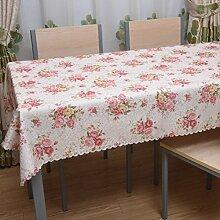 Der Stil Der Garten Tischdecke,Kaffee Tuch Handtuch Mit Handtuch,Staubabdeckung Außenhandel Frische Tischmatte Quadratisches Tischtuch-H 140x220cm(55x87inch)