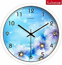 DIDADI Wall Clock Continental Uhren Quarzuhr kreative mute Wanduhr Wohnzimmer Garten Blumen hängende Tabelle 12 Zoll